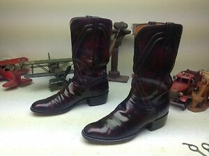 VINTAGE LUCCHESE BLACK CHERRY BRUSH-OFF SAN ANTONIO ENGINEER BOSS BOOTS 11 A