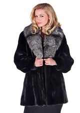 Women Real Ranch Mink Fur Jacket Natural Silver Fox Fur Shawl Collar