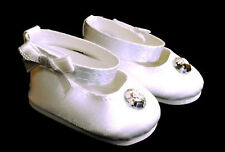 "White Satin Dress Shoes with Rhinestone made for 18"" American Girl Doll Clothes"