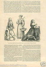 Costume Page Dress Robe Paysanne / Anne d'Autriche France GRAVURE OLD PRINT 1858