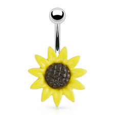 Metal Sunflower 316L Surgical Steel Navel Belly Button Ring