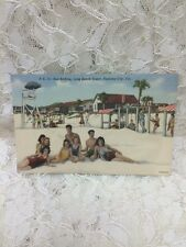 Vintage Card PC # 15  Sun Bathing, Long Beach Resort, Panama City, Fla 1940's