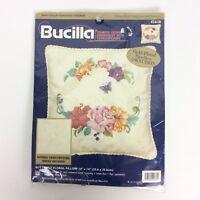 Bucilla Butterfly Floral Needlepoint Pillow Kit 42638 14x14 Crewel Candlewicking