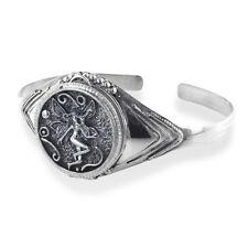 "Fairy Poison Locket or Prayer Box Sterling Silver Cuff Bracelet 7.5"""