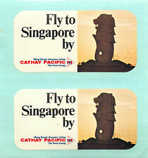 Fly to SINGAPORE by CATHAY PACIFIC Airline ~CHINA~ 2 Old Luggage Labels / Decals