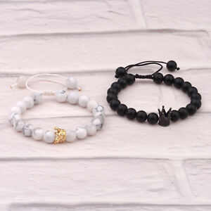 Fashion Couple His King And Her Queen Crown Bracelets Hand Weaved Bracelets