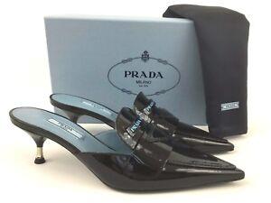 Sz.40.5 PRADA Logo Black Patent Leather Pointy Toe Mule Slide Heel Shoes