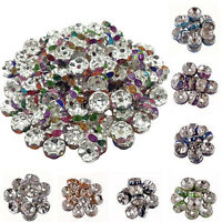 11Colors 50/100Pc Glass Silver Plated Spacer Loose Beads Charms Jewelry Finding