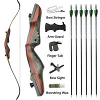 """62"""" Archery Recurve Bow Sight Arrows Set 20-50lbs Wooden Bow Hunting Shooting"""
