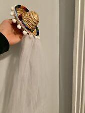 mini sombrero veil with pom poms & hair clips Bride Fiesta Bachelorette