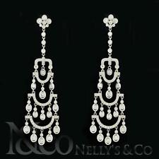 18K White Gold 3.75ct Diamond Chandelier Ladies Earrings