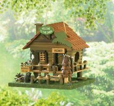 Log Cabin Bird House Welcome Rustic Wood Fairy Outdoor Garden Patio Birdhouse