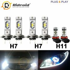6x Hi/Lo Beam LED Headlight H7+ H7 + H11 Fog Light For Jetta 15-17 Sonata 12-14