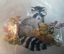 CM Crewel Pillow Kit  7697 Raccoon New old Stock Factory Sealed Vintage 1976