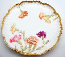 Tressman Vogt T & V Limoges France China Carnation 9  Plate Shallow Bowl Gold