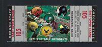 VINTAGE 1971 NCAA OREGON ST BEAVERS @ MICHIGAN ST SPARTANS FULL FOOTBALL TICKET