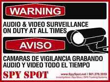 CCTV Warning Audio & Video Surveillance Duty at all Times Sign English Spanish