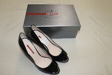 Prada Calzature Donna black patent wedges size 38 New in Box