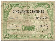Tunisia Tunisie Algeria 50 Centimes 1920 1338 Banknote P48 Rare Francais Money