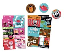 B-THERE 24 Count School Valentine Day Cards with Buttons, Fun and Cute Illust...