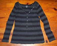 Women's OLD NAVY Black & Gray Cotton Stripe Casual V-Neck Henley Shirt - Large