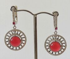 925 STERLING SILVER CHUNKY RED GARNET AND WHITE CUBIC ZIRCONIA HOOK EARRINGS