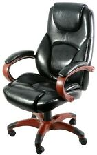 Black Leather Executive Chair Wood Rolling Office Computer Desk Memory Foam NEW