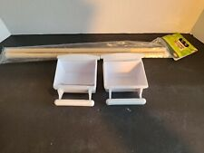 """New listing 2 white plastic bird feeder water plus 2 16"""" wood perch bars Bird Cage access:"""