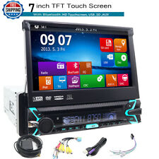 "NEW Single 1DIN DVD CD Player 7"" Bluetooth Receiver GPS Car Stereo Head Unit AUX"