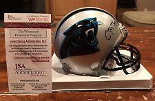 Christian McCaffrey Autographed Carolina Panthers Mini Helmet Witness JSA