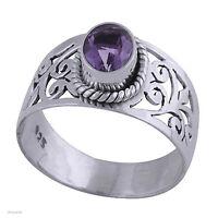 925 Silber Ring - Silberring mit Amethyst Fingerring Damenring Amethystring lila