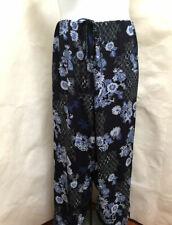 JM Collection 3X Pants Blue Floral Wide Elastic Waist Drawstring Plus Size