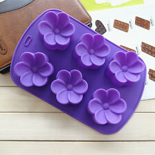 New 3D 6-Egg Flower Silicone Chocolate Cake Cookie Soap Ice Cube Mold Mould