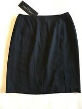 Anne Klein II Women's Petite Skirt Navy Pinstripe Size 4 Business