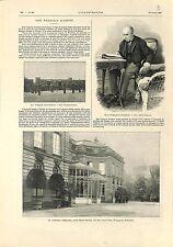 Don François d'Assise Marie Ferdinand de Bourbon Château d'Epinay GRAVURE 1902
