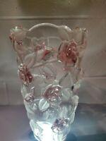 "Mikasa Bella Rose Pink Frost 9.5"" Crystal Vase"