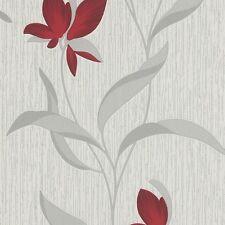Red Flower Silver Leaf Glitter Fleur Floral Textured Wallpaper 9730-06