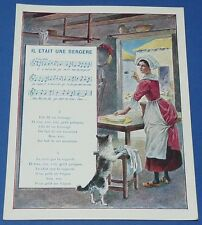 Rare chromo 1900 14 x 18 rhyme song was a bergere pub the coterie ecole