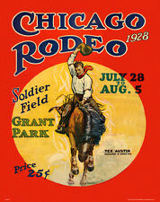 CHICAGO RODEO 1928- MAG19 BULL RIDING MOTIVATIONAL POSTER, RODEO COWBOY POSTER,