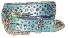 Women Western Rhinestone Crystal Bling Stud Snap on Buckle Blue Leather Belt M