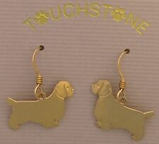 Clumber Spaniel Jewelry Gold Dangle Earrings