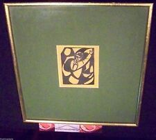 MID CENTURY 1960's CUBIST ABSTRACT PORTRAIT OF A CHILD PRINT - WOOD BLOCK?