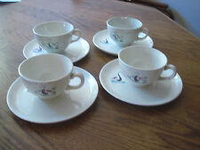 FAIENCERIES CONTINENTAL RIVIERA TEA CUP AND SAUCER SET OF 4