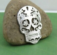 6 or 12 Pieces SUGAR SKULL Charms or Pendants, Tibetan Silver Charm Set, 29x20mm