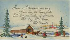 VINTAGE CHRISTMAS SNOW HORSE SLEIGH RIDE SCOTTY DOG CHURCH TREES GREETING CARD