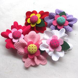 15/30PCS Large 6CM Padded Felt Ribbon Flowers Bow Appliques Decor Mix