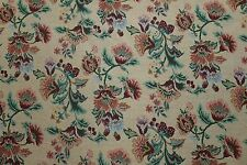 6 YARDS FLORAL TAPESTRY Upholstery Fabric Victorian French 5705 Beige Red NEW