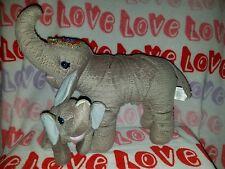 "Ringling Bros Barnum Bailey Circus plush Elephant pair Mother baby calf 18"" tag"