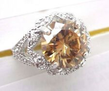 Cubic Zirconia Ring Size 9 Orange Round Solitaire Accent Silver Tone Fancy Band