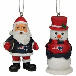 New England Patriots Christmas Tree Holiday Ornament - St Nick Snowman 2-pack